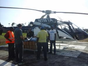 Transport héliporté de fret de médicaments et intrants médicaux